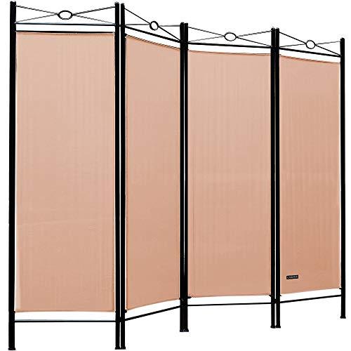 Deuba Paravent Lucca 180x163cm 4 Trennwände flexibel verstellbar Raumteiler Sichtschutz platzsparend & multifunktional Rose