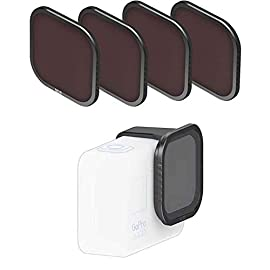 Fstop labs 4 pack lens filters for gopro hero 8 black camera lens set, multi coated filters pack accessories (4 pack… 1 for gopro hero 8 lens filters accessories set, features sharp agc glass made in japan. Specifically built for gopro hero 8 camera. Magnetic quick release system - strong neodymium magnets hold strong and allows you to quickly swap between filters. Includes 4 filters: nd8, nd16, nd32, pl = neutral density, pl = polarizer. Multicoated optics minimize reflections, flares and improves image quality, hydrophobic nano coating reduces fingerprints fog, water and dust.