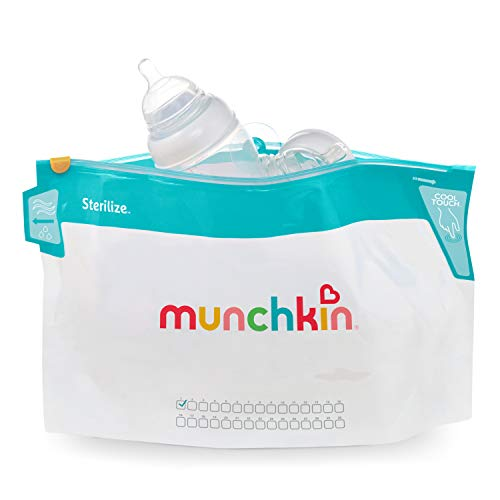 "Munchkin Jumbo Microwave Bottle Sterilizer Bags, 180 Uses, 6 Pack, Eliminates up to 99.9% of Common Bacteria, White, Large (8"" x 14"")"