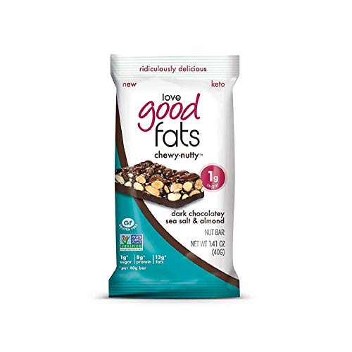 Love Good Fats Plant-Based Bars – Chewy-Nutty Dark Chocolatey Sea Salt & Almond – Keto-Friendly Protein Bar with Natural Ingredients – Low Sugar, Low Carb, Non GMO, Gluten & Soy Free Snacks for Ketogenic Diets (12ct)