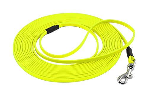 LENNIE Ultraleichte BioThane Schleppleine, 5mm, Hunde/Katzen bis 3 kg, 15m lang, mit Handschlaufe, Neon-Gelb, genäht