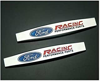 SXhhqhsm 2 pcs Car Styling Accessories Zinc Alloy Emblem Badge Decal Fender Side Sticker Apply to for Ford (Racing)
