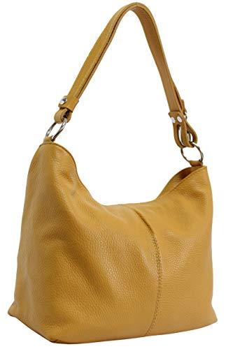 Ambra Moda GL005 - Borsa con tracolla, borsa a mano in pelle, borsa da spalla, hobo bag da donna, Blu (Azzurro), M