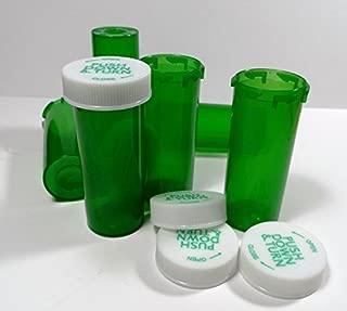 Plastic Prescription GREEN Vials/Bottles 25 Pack w/Caps SMALLEST 6 Dram Size-NEW