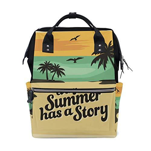 Bolsa de pañales para mamá con mayor capacidad, bolsa de pañales para bebé de verano, playa, palmera, multifunción, mochila de viaje