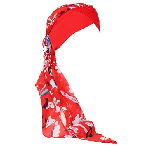 VECDY Gorro, Oncológico Yoga con Bambú Hipoalergenico Gorra De Cola Larga con Capucha De Gasa Musulmán Estampada para Mujer Sombrero De La Cabeza del Pañuelo Suave (Rojo)