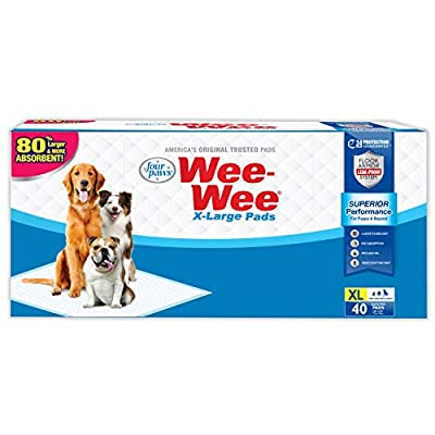 """Wee-Wee Puppy Training Pee Pads 40-Count 28"""" x 34"""" X-Large Size Pads for Dogs by Central Garden & Pet"""