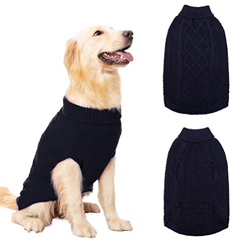 Mihachi Dog Sweater - Winter Coat Apparel Classic Cable Knit Clothes for Cold Winter,Dark Blue,M