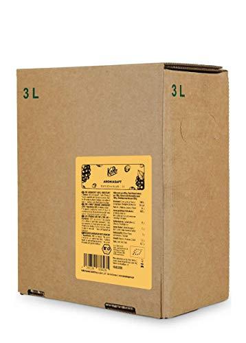 KoRo - Bio Aronia Saft Bag-in-Box 3 L - 100 % Direktsaft aus Bio Aronia - Naturbelassen und ohne Zuckerzusatz