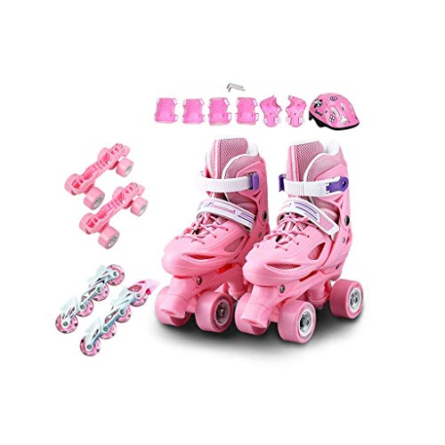 Inline-Skates, Kinder zweireihig Skates Anfänger Full Set 3-5-6-8-10 Jahre alt einreihig Skates Two In One mit Flash (Farbe: Pink, Größe: S (30-33 Meter)) dongdong
