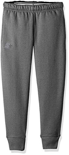 Starter Girls' Jogger Sweatpants with Pockets, Amazon Exclusive, Iron Grey Heather with Embroidered Logo, M (7/8)