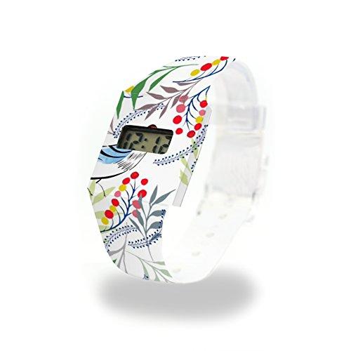 FLORALITY BIRD - Pappwatch - Paperwatch - Digitale Armbanduhr im trendigen Design - aus absolut reissfestem und wasserabweisenden Tyvek® - Made in Germany , absolut reißfest und wasserabweisend