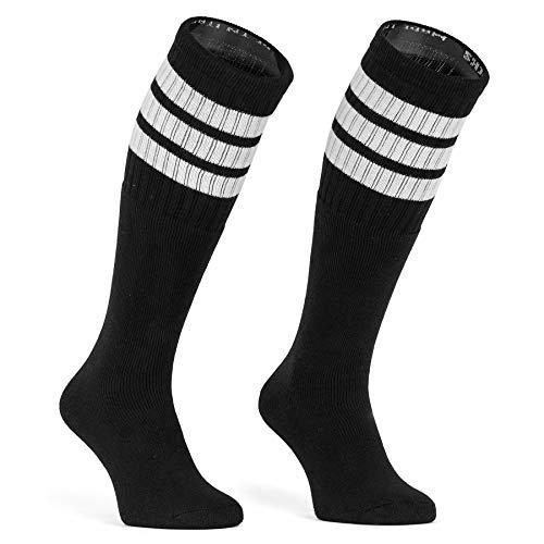 skatersocks 25 Inch kniehohe gestreifte Damen Socken Kniestrümpfe knee high overknee Herren Old School Retro Tube Socks schwarz - weiss gestreift - UNISEX - OSFA