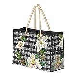 Bolsa de playa grande y bolsa de viaje para mujer – Bolsa de billar con asas, bolsa de semana y bolsa de noche – corona de magnolia rústica granja negro blanco cuadros