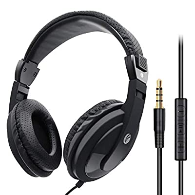 VCOM Over Ear Headphones with Microphone, 1.8M Cord Lightweight Stereo Wired Headset, 3.5mm Jack for Smartphones Tablets Laptops MP4 PS4/5 XBOX Office School Classroom Students Teens Adults (Black) from Vcom