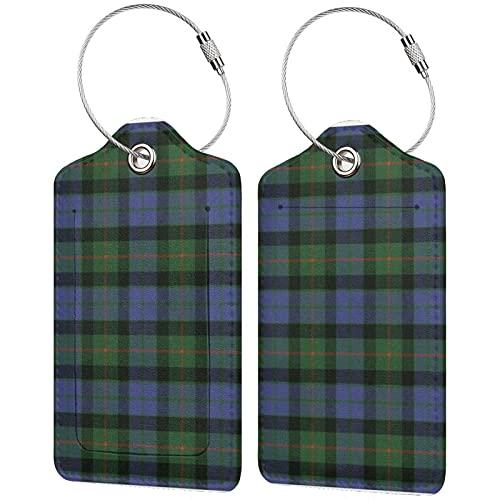 2 etiquetas para equipaje, etiquetas de piel sintética para equipaje con cierre de acero inoxidable para bolsa de viaje, maleta Gunn Ancient Original Scottish Tartan