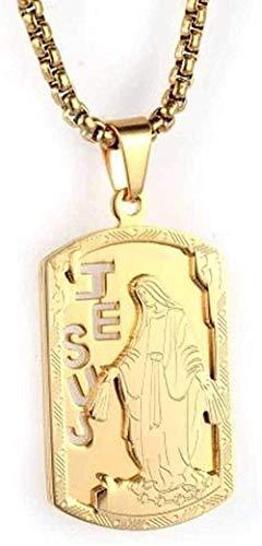 ZHIFUBA Co.,Ltd Necklace St Steel Necklace Jewelry for Men s Religious Necklace Jesus Titanium Steel Pendant Necklace Gold-Gold Gift for Women Men