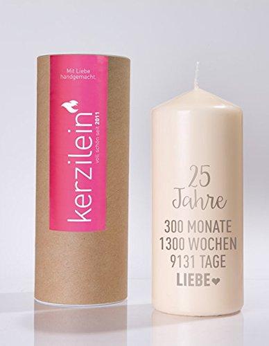 Kerze / Stumpen-Kerze / Hochzeits-Kerze / Trau-Kerze Silber-Hochzeit