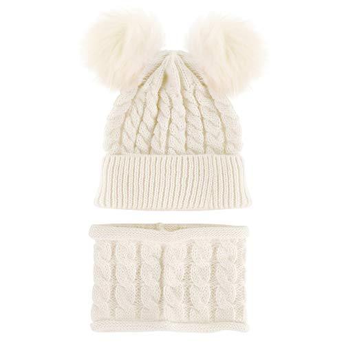 DERCLIVE 2 szt./zestaw uniseks zimowa dzianinowa czapka szalik zestaw Pom Pom Ball czapka beanie apaszka dla małego dziecka