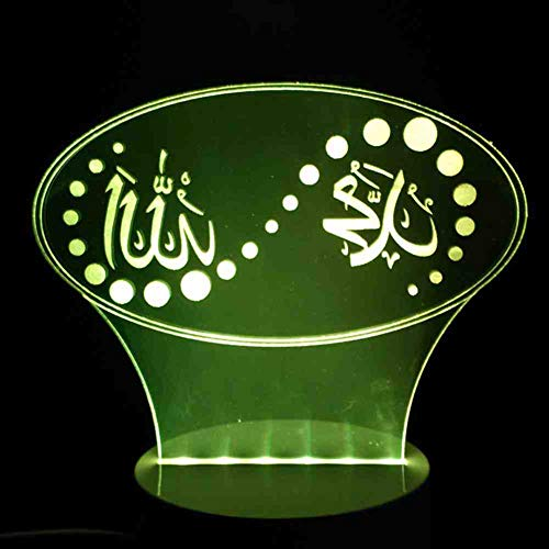 BJDKF 3D kerstgeschenk 7 kleuren veranderende sfeerverlichting LED-lamp Gott Allah Segne Koran Arabisch modellering bureau enz nachtlampje kind slaapverlichting
