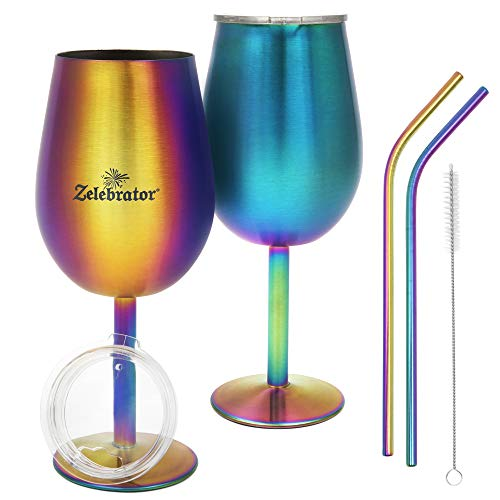 Stainless Steel Wine Glass, Set of 2, with Stem and Lid - Rainbow Stemmed Wine Glasses,12 Oz. Double-Wall, Insulated, Shatterproof, Unbreakable Drinkware - Iridescent Glassware Gift Set,Travel Goblet