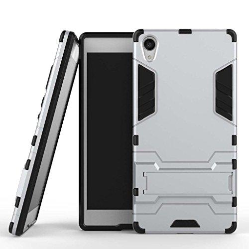 Funda para Sony Xperia Z5 Premium (5,5 Pulgadas) 2 en 1 Híbrida Rugged Armor Case Choque Absorción Protección Dual Layer Bumper Carcasa con Pata de Cabra (Plateado)