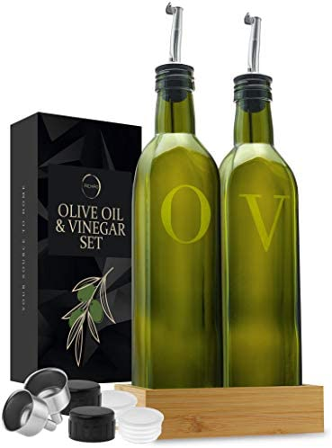 Olive Oil Dispenser Bottle Set of 2 With Wood Tray 17 Oz Glass Oil and Vinegar Dispenser Stainless product image