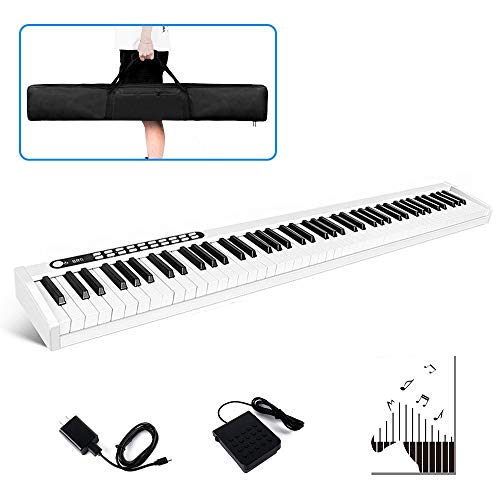 Vangoa VGD881 88 Key Portable Piano Keyboard with Tounch Sensitive Keys, Electronic Keyboard Piano with Wireless Connection, Sustain Pedal, Power Supply and Carrying Bag, White