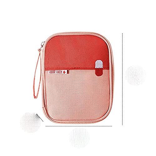 Armario de medicina engrosado Caja de bolsa de almacenamiento portátil familiar Armario de medicina en capas multifuncional Botiquín de primeros auxilios para medicina-Rosa S