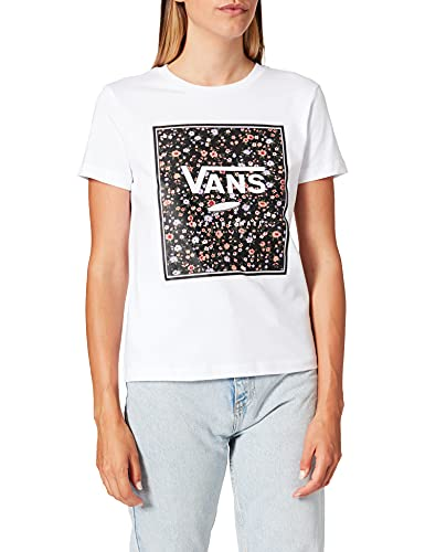Vans Damen Boxed IN Rose Crew T-Shirt, weiß, Large