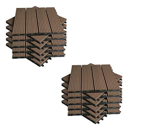 EUGAD 22x Suelo de Exterior WPC 30x30cm Terrazas del Piso 22 Set 2? Baldosas de Madera para Jardin, Terraza Marrón