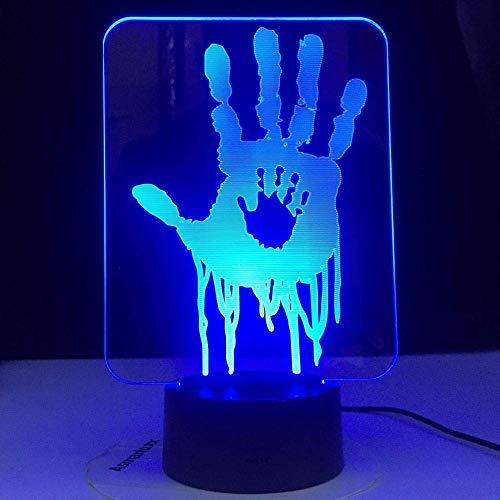 Luces de noche con Bluetooth para niños Lámpara de ilusión 3D Luz de noche LED Videojuego Death Stranding Impresiones de manos para decoración de habitación de niños Regalo genial para niños Game