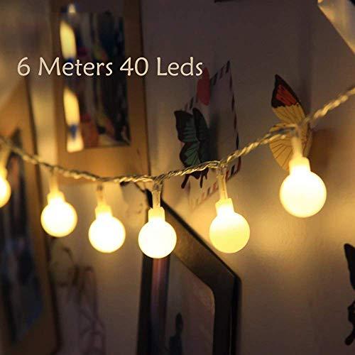 Globe Lichterkette 6M 40 LEDs Batteriebetriebene Silberdraht Indoor Outdoor Lichterketten für Schlafzimmer Gläser Camping Hochzeitsfeier Festival Baumschmuck
