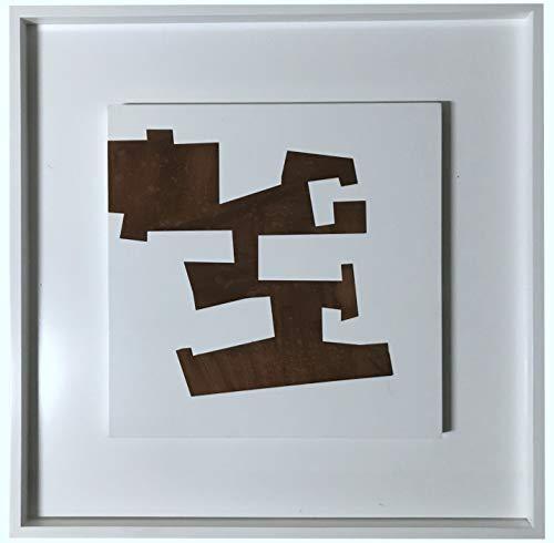 BEUFIRST Cuadros de diseño Estilo contemporáneo, 80x80 cms. Elaborados en Acero corten sobre Bastidor de Madera lacada en Color Blanco Alto Brillo. (C18)