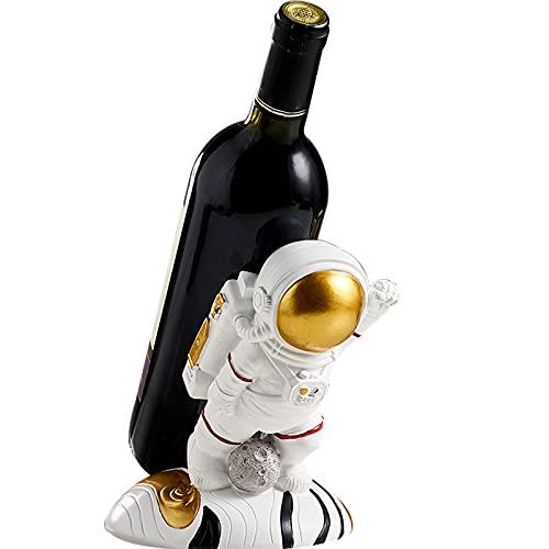QYWSJ Soporte para Botellas De Vino De Resina para Astronautas, Soporte para Botellas De Vino De Mesa Spacemans para CafeteríA, Bar, Restaurante, Casa, Oficina, Fiesta, Regalo-Gold  D