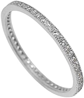 D Jewelry 925 Sterling Silver Micro Pave Eternity Promise Cz Wedding Band Ring Rhodium Plated Stackable 1.5mm