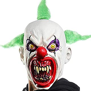 Waltz&F Halloween Scary Clown Costumes Mask Green Hairs Party Cosplay Face Adult Latex Masks
