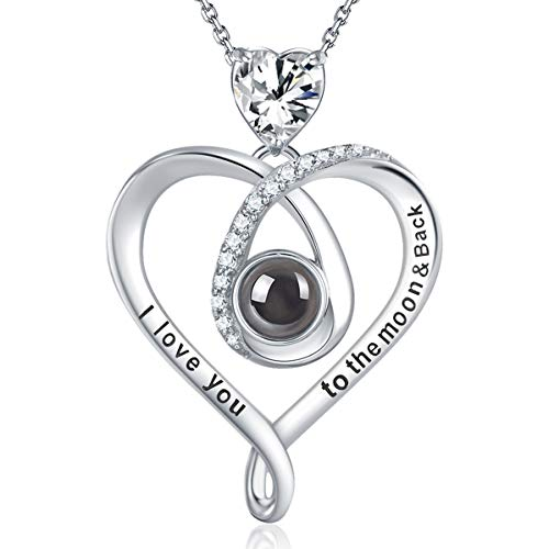 GinoMay Mothers Day Birthday Gifts Wife I Love You Necklace 100 Languages to the Moon and Back Jewellery Women Sterling Silver