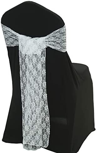 mds Pack of 10 Lace Chair Bow Sashes sash for Wedding or Events Party Supplies Chair lace sash product image