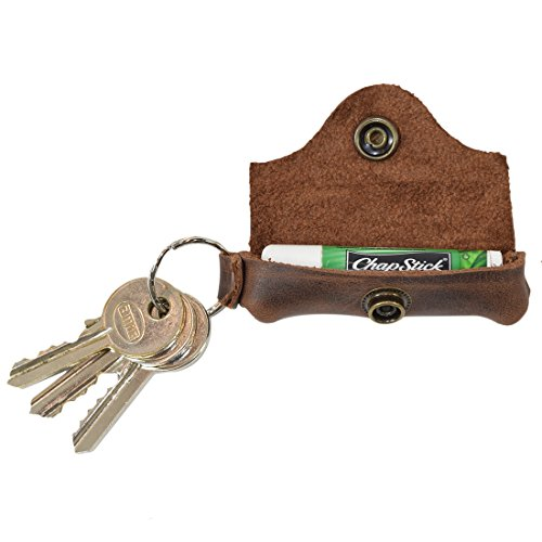 Hide & Drink, Rustic Soft Leather Lip Balm Lover Keychain Holder, Travel & Carry On Lips Protection Pocket Snap Case, Commuter & Nomad Gift, Handmade Includes 101 Year Warranty :: Bourbon Brown
