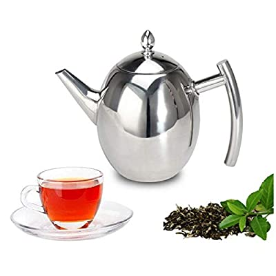 Hwagui - Stainless Steel Teapot with Removable Infuser for Loose Leaf and Tea Bags, Tea Kettle Dishwasher Safe and Heat Resistant, 1000ml/35oz