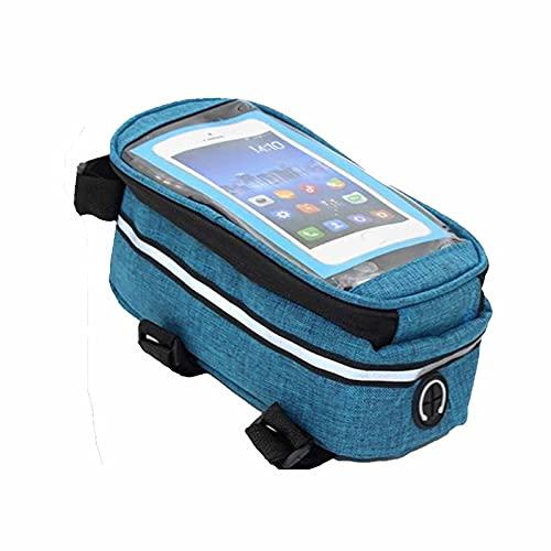 1 unid bici marco bolsa montaña bicicleta delantera viga bolsa teléfono móvil accesible accesorios 19.5 × 10 × 10 cm