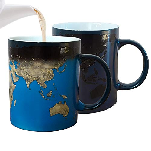 Magic Tasse Weltkarte: Kaffeebecher mit Farbwechsel Effekt, mit World Map Bedruckt, magische Kaffeetasse, Weltenbummler Becher, Geschenkidee (blau)