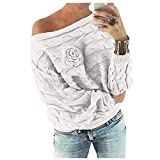 MEIbax Damen Multicolor Striple Flower Pullover beiläufige Gestrickte Long Sleeve...