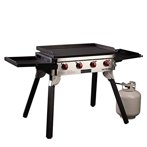 Camp Chef Portable Flat Top Grill, True Seasoned Griddle Surface, Four 12,000 BTU/hr. stainless steel burners