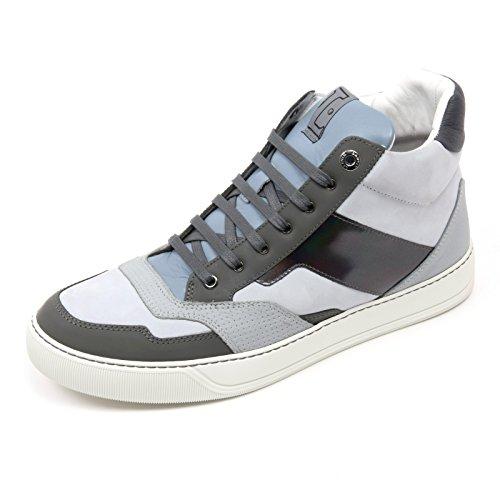 C2850 Sneaker Alta Uomo Lanvin GLOL Scarpa Azzurro/Grigio Mid Top Shoe Man [7]
