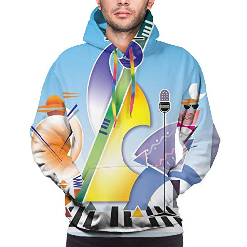 Jieaiuoo Men's Hoodies Sweatershirt,Abstract Band of Geometric Shapes Drums Accordion Performing On Keyboard Surface,M