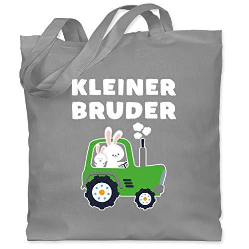 Shirtracer Geschwister Bruder - Kleiner Bruder Traktor Hasen - Unisize - Hellgrau - Geschenk - WM101 - Stoffbeutel aus Baumwolle Jutebeutel lange Henkel
