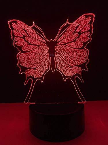 YOUPING Lámpara 3D de ilusión 3D, lámpara de visión 3D, 7 colores, interruptor táctil degradado USB, lámpara de mesa decorativa para niños (mariposa)