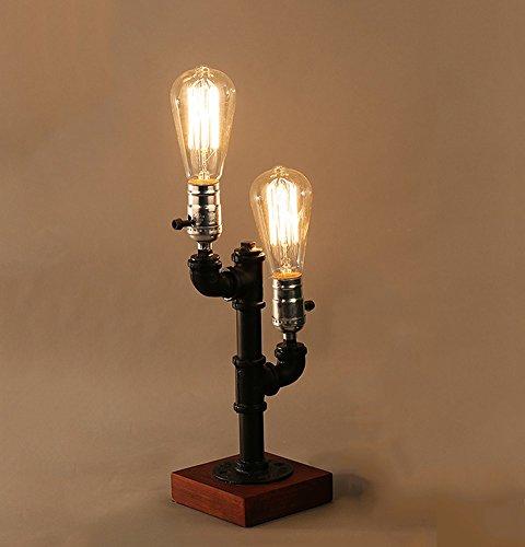 ZWL Loft Retro Lampe de table, Bar Iron Water Pipe Lampe industrielle Coffee Shop Lumières décoratives Lampes de restaurant Etude Lampe de bureau Magasin de vêtements Chambre à coucher Lampe de chevet Bois massif Home E27 Lampes 20 * 47cm fashion.z ( taille : 20*47CM )